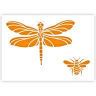 Libelle en bij sjabloon insecten stencil