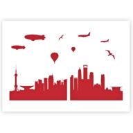 Shanghai Skyline stencil sjabloon