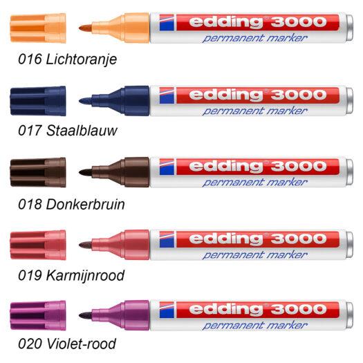 Edding 3000 permanent marker lichtoranje staalblauw donkerbruin karmijnrood rood violet