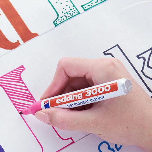 Edding stift 3000 permanent marker zwart stiften voor op glas, metaal, hout, papier, etc sfeerbeeld diy