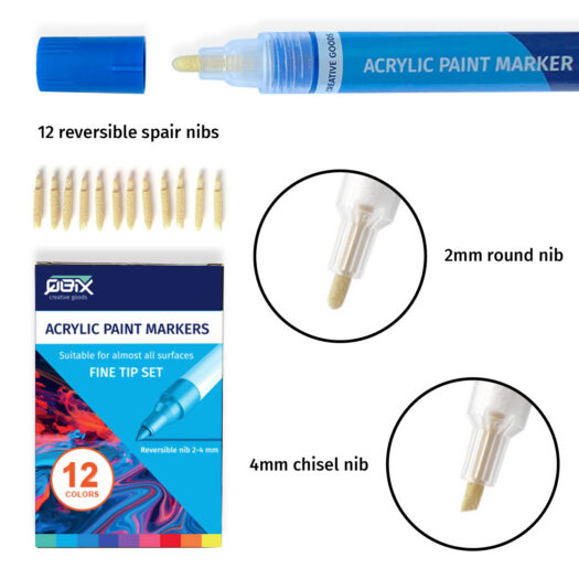 QBIX acrylstiften 2- 4 mm